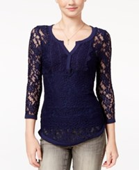 Almost Famous Juniors' Sheer Lace Henley Top Navy