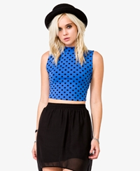 Forever 21 Polka Dot Crop Top Blue Black