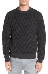 Original Penguin Men's Lambswool Zigzag Raglan Crewneck Sweater True Black