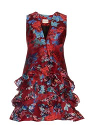Mary Katrantzou Rokina Floral Jacquard Dress Red Multi