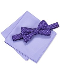 Alfani Men's Venus Geo Pre Tied Bow Tie And Pocket Square Set Only At Macy's Purple