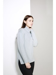 Johnstons Of Elgin Cashmere Oversized Roll Collar Sweater Blue