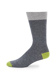 Saks Fifth Avenue Knit Cotton Blend Mid Calf Socks Lime Grey