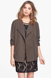 Astr Collarless Slouchy Roll Sleeve Jacket Army Brown
