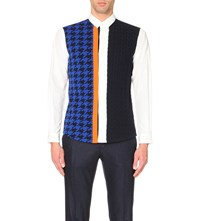 Tomorrowland Houndstooth And Cable Knit Cotton Shirt White