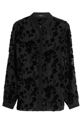 Etro Beaded Velvet Burn Out Blouse Black