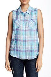 Sandra Ingrish Sleeveless Plaid Shirt Petite Multi