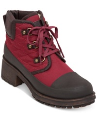 Lucky Brand Women's Akonn Short Lace Up Faux Fur Hiker Booties Women's Shoes Red