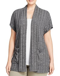 B Collection By Bobeau Curvy Larken Ribbed Short Sleeve Cardigan Charcoal