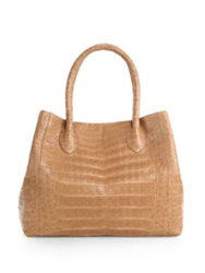 Nancy Gonzalez Small Crocodile Expandable Tote Cobalt Beige