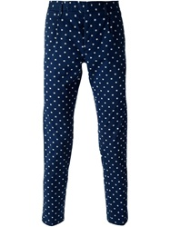 Paolo Pecora Micro Floral Print Slim Trousers Blue