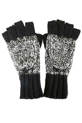 Mixed Knit Covertable Gloves Black