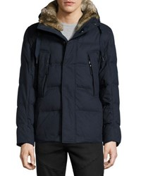 Marc New York Darien Rabbit Fur Quilted Coat Navy