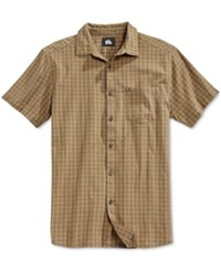 Quiksilver Men's Pacific Sound Plaid Short Sleeve Shirt Yellow