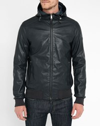 Armani Jeans Navy Perforated Faux Leather Hooded Bomber Jacket Blue