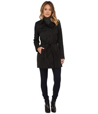 Dkny Double Breasted Belted Trench W Zipper And Tab Details 06541 Y5 Black Women's Coat