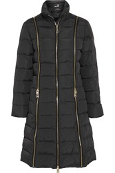 Love Moschino Zip Trimmed Quilted Shell Down Coat Gray