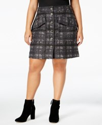 Rachel Roy Curvy Trendy Plus Size Houndstooth Skirt Only At Macy's Navy Combo