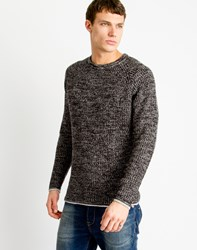 Only And Sons Mens Knitted Pullover With Knit Structure And Melange Effect Black