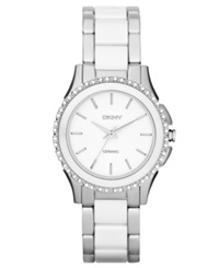Dkny Watch Women's White Ceramic And Stainless Steel Bracelet 32Mm Ny8818