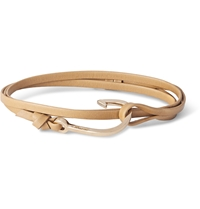 Miansai Leather And Gold Plated Hook Bracelet Gray