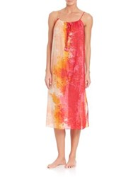 Natori Floral Stream Cotton Tank Gown Pink Multi