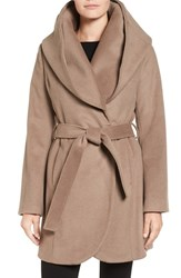 T Tahari Women's Wool Blend Belted Wrap Coat Mink