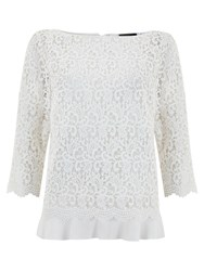 Mint Velvet Lace Tie Back Layer Top Ivory