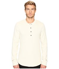 7 For All Mankind Long Sleeve Thermal Henley Ecru Men's Clothing Khaki