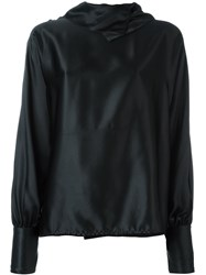 Gianfranco Ferre Vintage Draped Neck Blouse Black