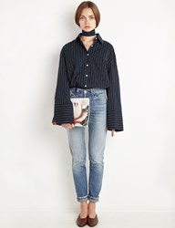 Pixie Market Navy Pinstripe Oversize Wide Cuff Shirt By New Revival