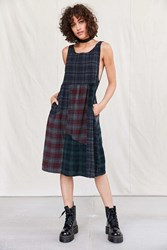 Urban Renewal Remade Plaid Flannel Midi Dress Charcoal