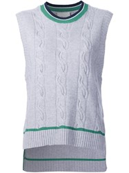 3.1 Phillip Lim Cable Knit Sleeveless Jumper Grey