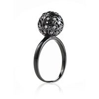 Sonal Bhaskaran Svar Ruthenium Sphere Ring Clear Cz Black