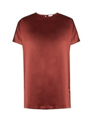 Brunello Cucinelli Short Sleeved Silk Blend Satin Top Burgundy