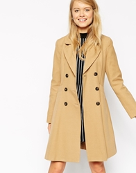 Asos Skater Coat With Double Breast Button Detail Camel