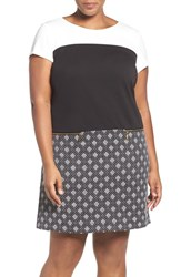 Ellen Tracy Plus Size Women's Colorblock Ponte And Jacquard A Line Shift Dress