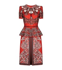 Alexander Mcqueen Paisley Print Peplum Waist Dress Female Brown
