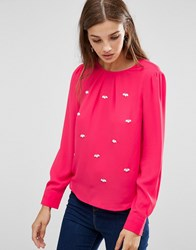 Lavand Embellished Long Sleeve Top Fuxia Purple