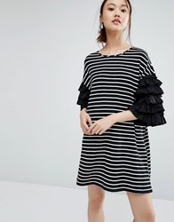 Zacro T Shirt Dress With Layered Ruffle Sleeves In Breton Stripe Black