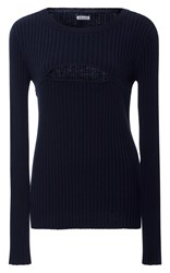 Frame Denim Ribbed Cutout Sweater Navy