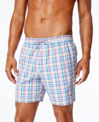 Tommy Hilfiger Men's Deep Leisure Plaid Swim Trunks Snow White