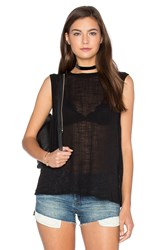Enza Costa Cotton Gauze Sleeveless Trapeze Tank Black