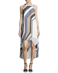 Laundry By Shelli Segal Geometric Print Sleeveless Pleated High Low Dress Inkblot Multi