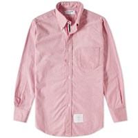 Thom Browne Classic Grosgrain Placket Oxford Shirt Red
