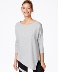 Betsey Johnson Asymmetrical Hem Three Quarter Sleeve Top Stone Heather Grey