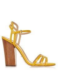 Sergio Rossi Paloma Patent Leather Sandals Yellow