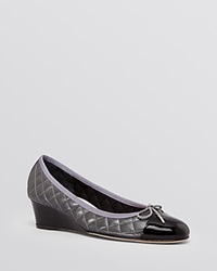 Paul Mayer Cap Toe Wedge Pumps Nice Quilted Black Pewter