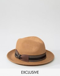 Reclaimed Vintage Trilby Hat With Stripe Band Brown Brown