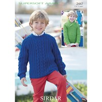 Sirdar Super Soft Aran Children's Cabled Jumpers Knitting Pattern 2447